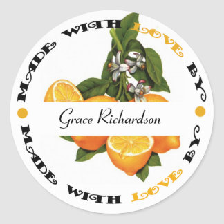 Made with Love Lemon Round Stickers