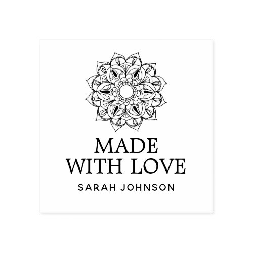 Made With Love Lotus Flower Personalized Rubber Stamp