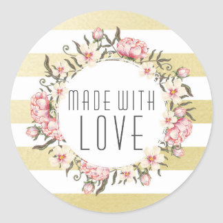 Made With Love Modern Gold Stripes & Pink Floral Classic Round Sticker