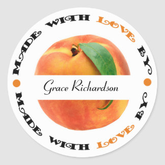 Made with Love Peach Classic Round Sticker