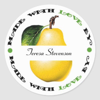 Made with Love Pear Classic Round Sticker