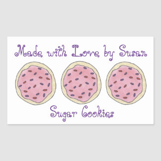 Made with Love Personalized Baking Sugar Cookie Rectangular Sticker