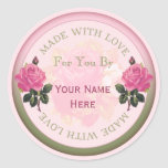 Made with Love Personalized Seals, Stickers Roses