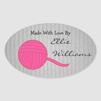 Made With Love Pink Ball of Yarn Grey Knit Sticker