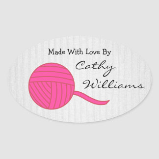 Made With Love Pink Ball of Yarn White Knit Stickers