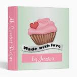 Made with Love Pink & Green Cupcake Recipe Binder