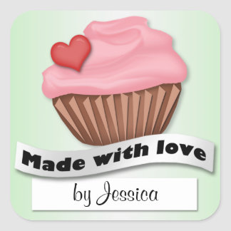 Made With Love Pink & Green Cupcake Stickers