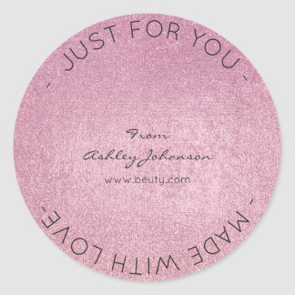 Made With Love Pink Rose Minimal Metallic Delicate Classic Round Sticker