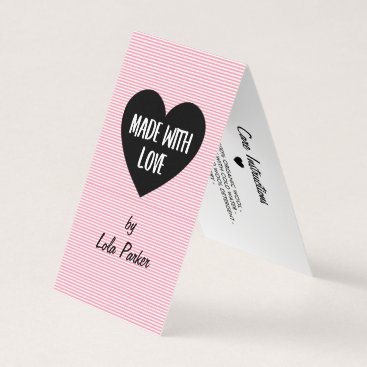 Professional Business Made with Love Pink Stripes - Care Instructions Business Card