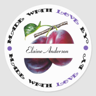 Made with Love Plum Classic Round Sticker