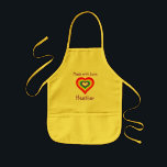 "Made with Love Rainbow Heart Personalized Kids&#39; Apron<br><div class=""desc"">Add the name of your little cook to personalize this rainbow-heart apron.</div>"