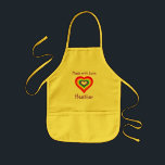 """Made with Love Rainbow Heart Personalized Kids&#39; Apron<br><div class=""""desc"""">Add the name of your little cook to personalize this rainbow-heart apron.</div>"""