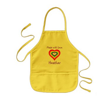 Valentines Themed Made with Love Rainbow Heart Personalized Kids' Apron