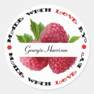 Made with Love Raspberry Classic Round Sticker