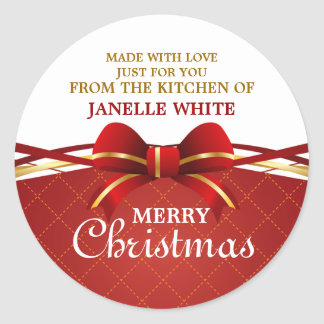 Made With Love Red Bow Classic Round Sticker