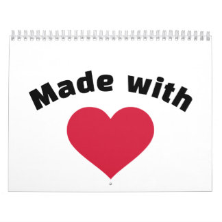 Made with love red heart calendars