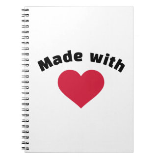 Made with love red heart spiral note book