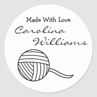 Made With Love Round Black White Ball of Yarn v2 Classic Round Sticker