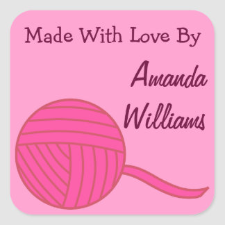 Made With Love Round Pink Ball of Yarn and Pink Square Sticker