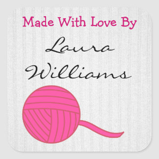 Made With Love Round Pink Ball of Yarn White Knit Square Sticker