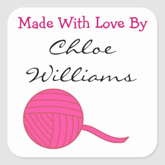 Made With Love Round Pink Ball of Yarn White v2 Square Sticker
