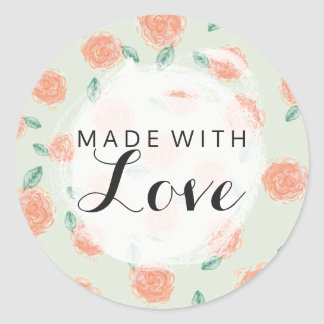Made With Love Shabby Chic Coral Roses On Mint Classic Round Sticker
