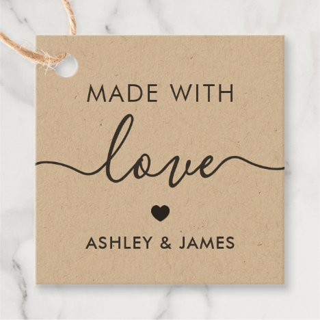 Made With Love Tag, Handmade Gift Tag, Kraft Favor Tags
