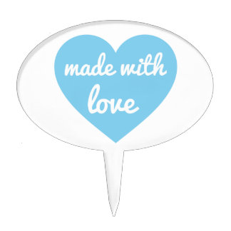 Made with love text design in blue heart, word art cake topper