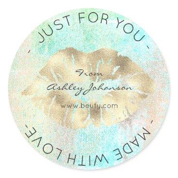 McTiffany Tiffany Aqua Made With Love Tiffany Gold Ocean Makeup Lips Kiss Classic Round Sticker