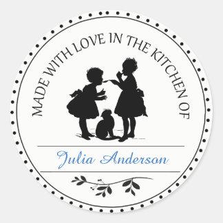 Made With Love Vintage Children Classic Round Sticker