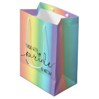 Made With Pride LGBTQ Business Pastel Rainbow Medium Gift Bag