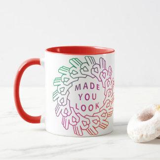 Made You Look Hand Gesture Circle Gradient Mug