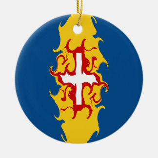 Madeira Gnarly Flag Double-Sided Ceramic Round Christmas Ornament