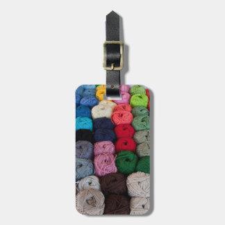 Madejas del hilado etiqueta de maleta