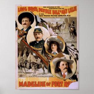Madeline del teatro retro de Reno del fuerte Poster