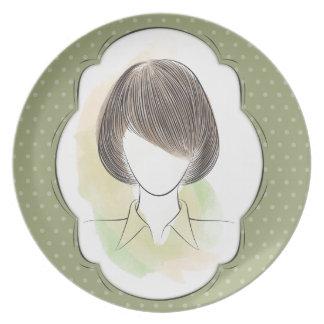 Madeline - retrato de una mujer platos para fiestas
