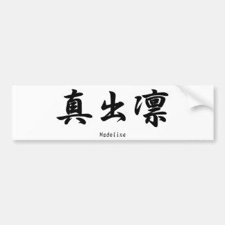 Madeline tradujo a símbolos japoneses del kanji pegatina para auto