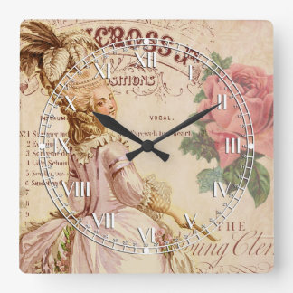 Mademoiselle Couture Square Wall Clocks