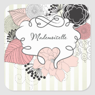 Mademoiselle Floral Design Square Sticker