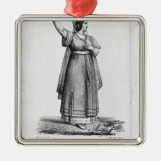 Mademoiselle George en el papel Adorno Cuadrado Plateado