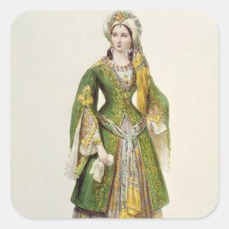 Mademoiselle Rachel  as Roxane in 'Bajazet' Square Sticker