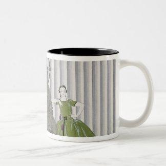 Mademoiselle Spinelly Chez Elle, 1920 (pochoir pri Two-Tone Coffee Mug