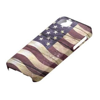 Madera #2 del vintage de la bandera americana iPhone 5 fundas