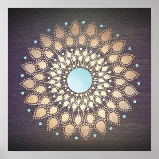 Madera adornada de la mandala de Lotus del oro Póster