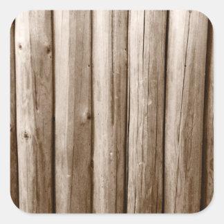 Madera apenada cabaña de madera rústica del pegatina cuadrada