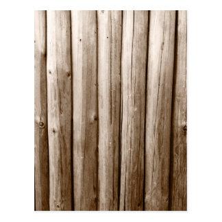 Madera apenada cabaña de madera rústica del vintag postal