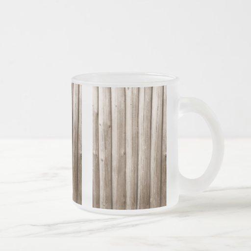 Madera apenada cabaña de madera rústica del vintag tazas de café