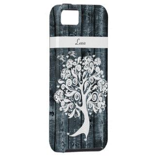 Madera azul del árbol caprichoso del baile iPhone 5 fundas
