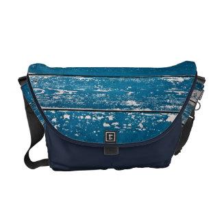 Madera azul vieja bolsa de mensajería