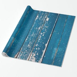 Madera azul vieja papel de regalo